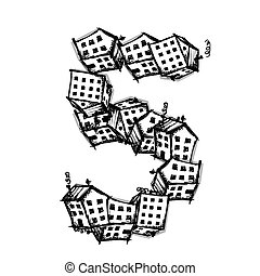 feito, alfabeto, número, casas, vetorial, cinco, desenho