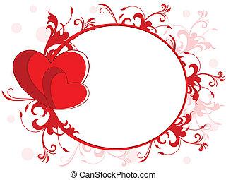 feito, ame coração, espaço, abstratos, valentines, seamless, quadro, outro, fundo, floral, occasions., cópia, dia, vermelho