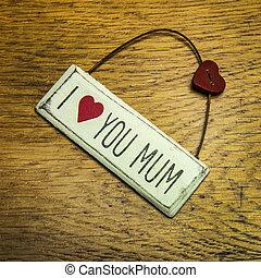 feito, amor, roto, mão, mum, chique, tu, sinal