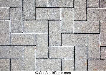 feito, blocos, concreto, cor, padrão, cinzento, lançar,...