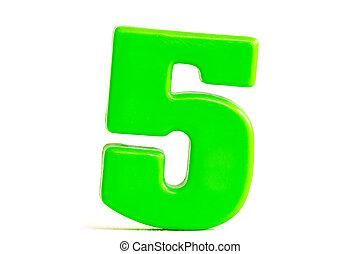 feito, cinco, número, plástico