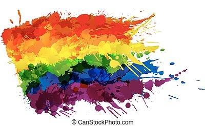 feito, coloridos, homossexual, lgbt, bandeira, esguichos, ou