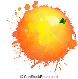 feito, coloridos, toranja, esguichos, fundo, branca