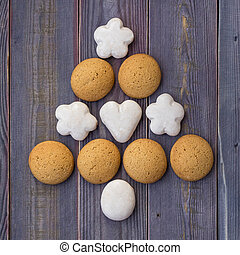 feito, cookies., árvore, natal, ano, novo, ou