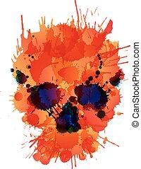 feito, cranio, coloridos, esguichos