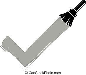 feito, criado, cheque, concept., aceitação, sinal, símbolo, hand-drawn, vetorial, escolha, paintbrush., monocromático, marca, pinceladas, isolado, validação