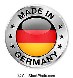 feito, em, alemanha, prata, emblema