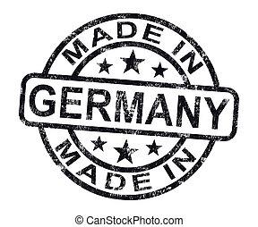 feito, em, alemanha, selo, mostra, alemão, produto, ou,...