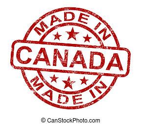 feito, em, canadá, selo, mostra, canadense, produto, ou,...