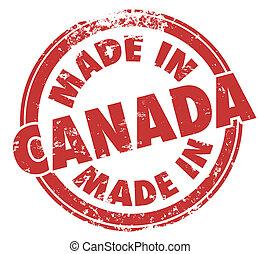 feito, em, canadá, vermelho, redondo, selo, produto,...