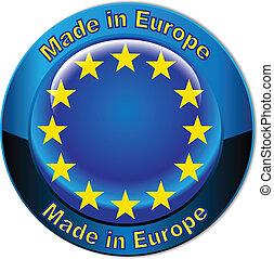 feito, em, europa, bandeira, globo, botão