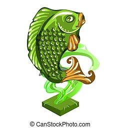 feito, estatueta, nephrite, peixe, isolado, ilustração, estatueta, experiência., vetorial, oriental, jade, close-up., branca, style.