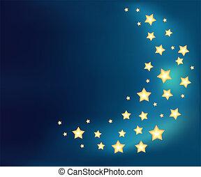 feito, estrelas, lua, fundo, brilhante, caricatura