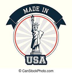 feito, eua, liberdade, desenho, estátua, bandeira