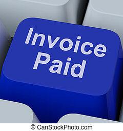 feito, fatura, conta, pago, tecla, pagamento, mostra