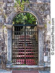 feito-ferro, antigas, fechado, portões