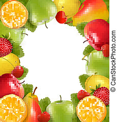 feito, fruit., suculento, vector., fresco, quadro