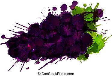 feito, fundo, coloridos, esguichos, uvas, branca
