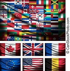 feito, grande, bandeira, vector., mundo, flags., saída