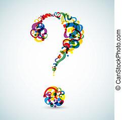 feito, grande, marca pergunta, menor, marcas
