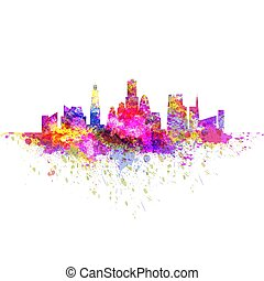 feito, grunge, coloridos, skyline, luminoso, esguichos, cityscape, scyscrapers