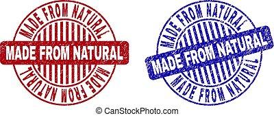 feito, grunge, selos, textured, natural, redondo