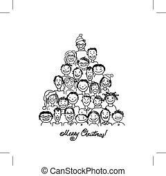 feito, grupo, pessoas, árvore, natal, desenho, seu