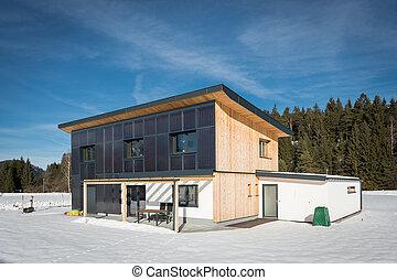 feito, inverno, casa, ecológico, madeira, solar, sol