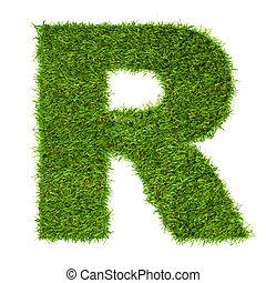 feito, isolado, r, verde, letra, branca, capim