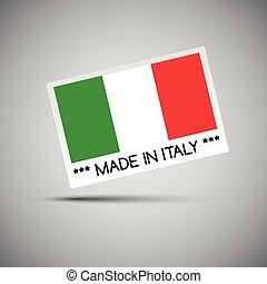 feito, itália, negócio, bandeira, ilustração, vetorial, tu, cartão, italiano