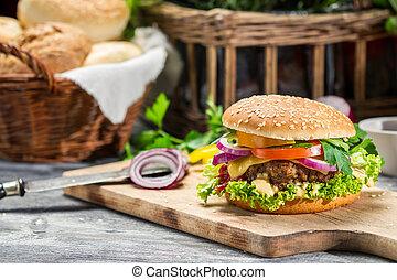 feito, legumes, hambúrguer, closeup, fresco, beaf