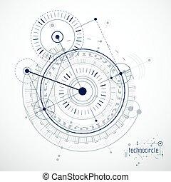 feito, lines., desenho, vetorial, tecnologia, papel parede, técnico, experiência., engenharia, abstratos, círculos