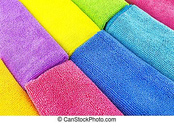 feito, material, empilhado, cores, lado, lado, topo, vista., diferente, fundo, microfiber