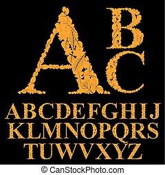 feito, natural, jogo, alfabeto, folhas, vect, floral, letras, fonte