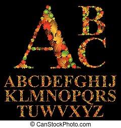 feito, natural, jogo, alfabeto, folhas, vetorial, floral, letras, fonte, design.