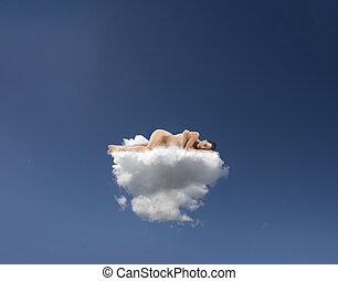 feito, nuvens, dorme, jovem, colchão, mulher