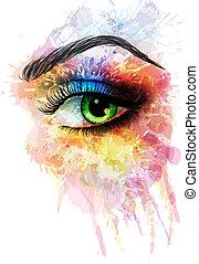 feito, olho, esguichos, coloridos