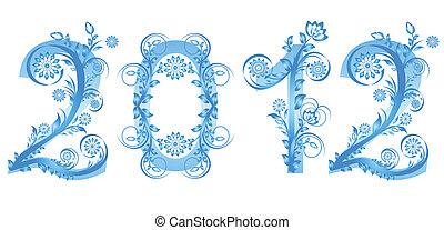 feito, ornamento, ilustração, vetorial, números, ano, floral, novo, 2012