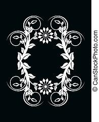 feito, ornamento, número, ilustração, zero, vetorial, experiência preta, floral