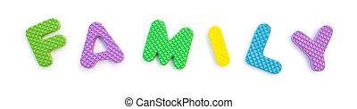 feito, palavra, família, alfabeto, quebra-cabeça, jigsaw, branca