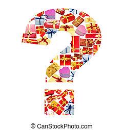 feito, pergunta, alfabeto, -, marca, giftboxes