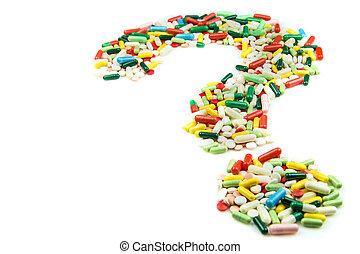 feito, pergunta, pílulas, marca