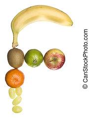 feito, saída, letra, fruta, 'f'