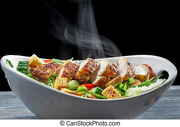 feito, salada, ingredientes, caesar, ??of, fresco