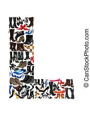 feito, sapatos, -, l, centenas, letra, fonte