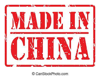 feito, selo, texto, china, branco vermelho