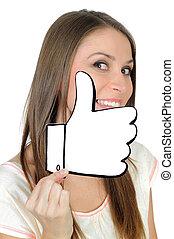 feito, semelhante, positivo, jovem, mão, mulher, sinal