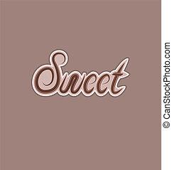 feito, texto, elemento, desenho, doce, chocolate