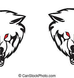 fej, ábra, wolf., vektor