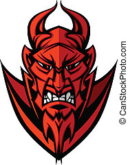 fej, ördög, illu, démon, vektor, kabala